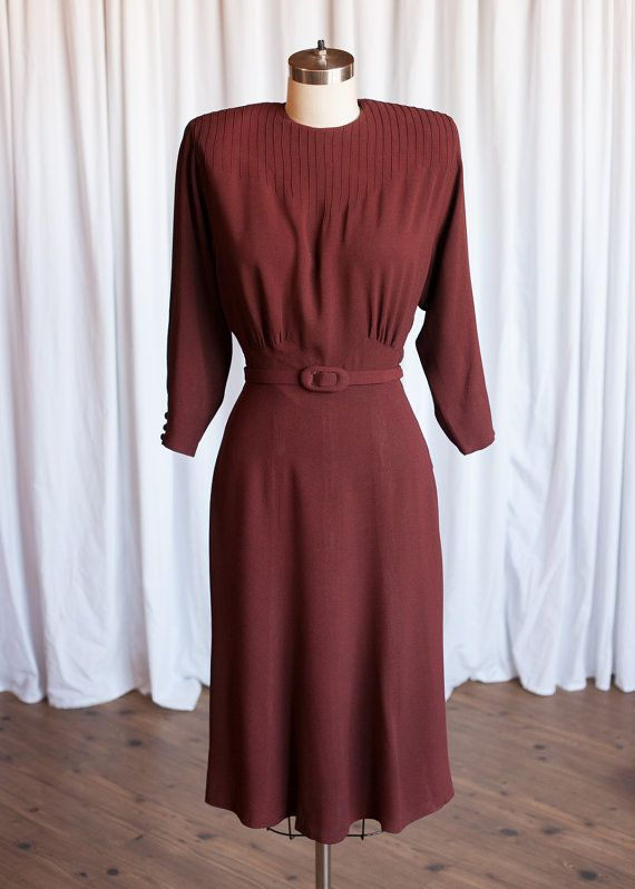More Than Miles dress | vintage 40s dress | Queen Frocks rust red 40s dress | vintage brown/copper rayon crepe 1940s dress