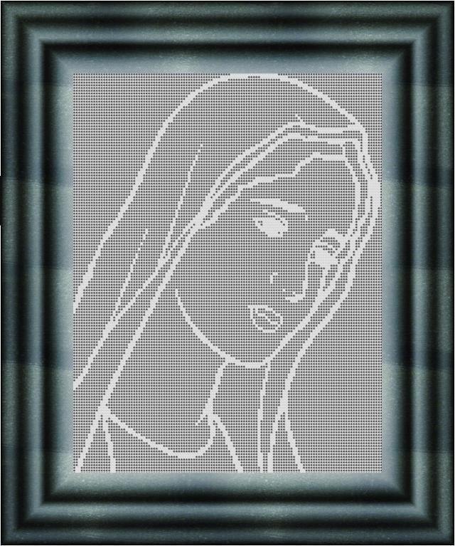 Filet Crochet CHART-Mary