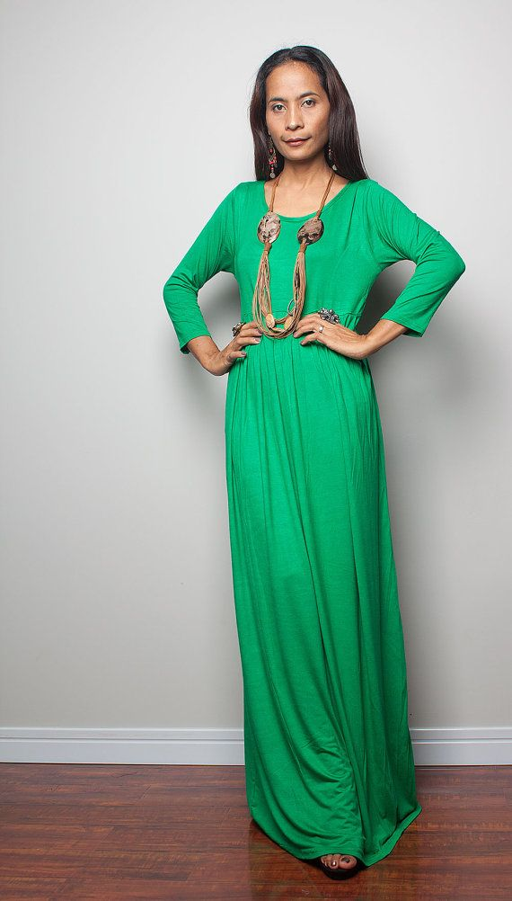 Maxi Dress with 3/4 Sleeves / Long Green Dress  Autumn by Nuichan, $59.00