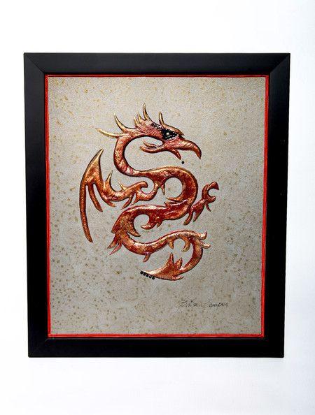 Quadro Dragão Vermelho Fogo alto relevo produzido em chapa de metal