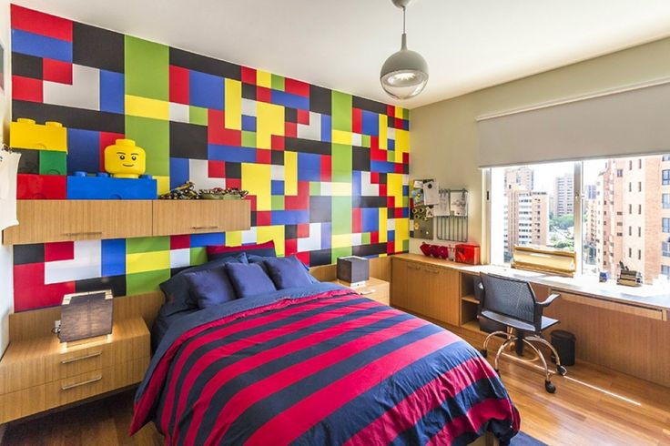Apartment: Colorful Lego Bedroom For Teens Withwall Mounted Wooden Cabinet And Working Table As Well As Contemporary Pendant Light Ball Plus Pink Purple Bedcover Design Ideas: Hobby Influences Apartment Interior : Project for Music Lovers