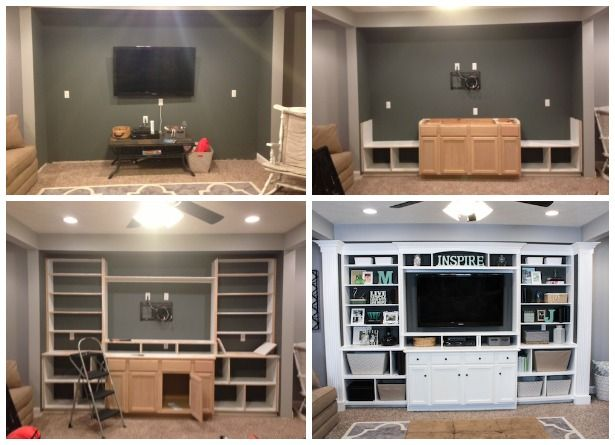 THE BASEMENT: Built-In Entertainment Center & Bookshelves - Mom and dads basement