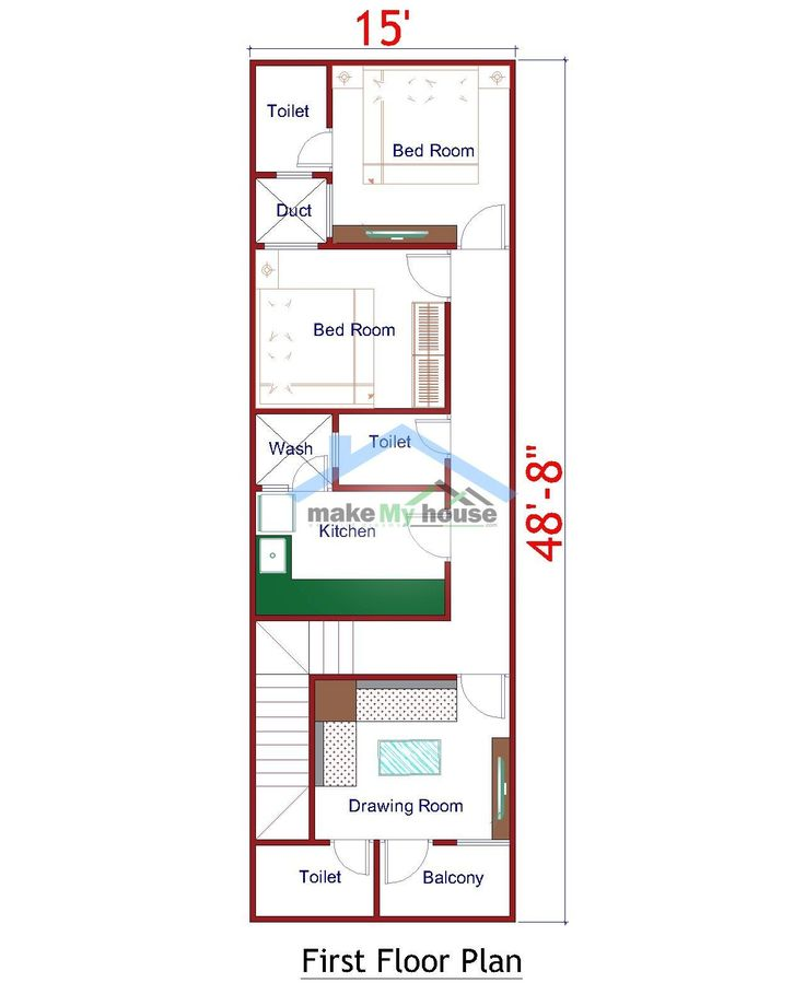 15x50 House Design Plan East Facing Best Plan For 750 Sqft Plot Size Https Www Makemyhouse Com 378 Narrow House Plans Open Floor House Plans 2bhk House Plan