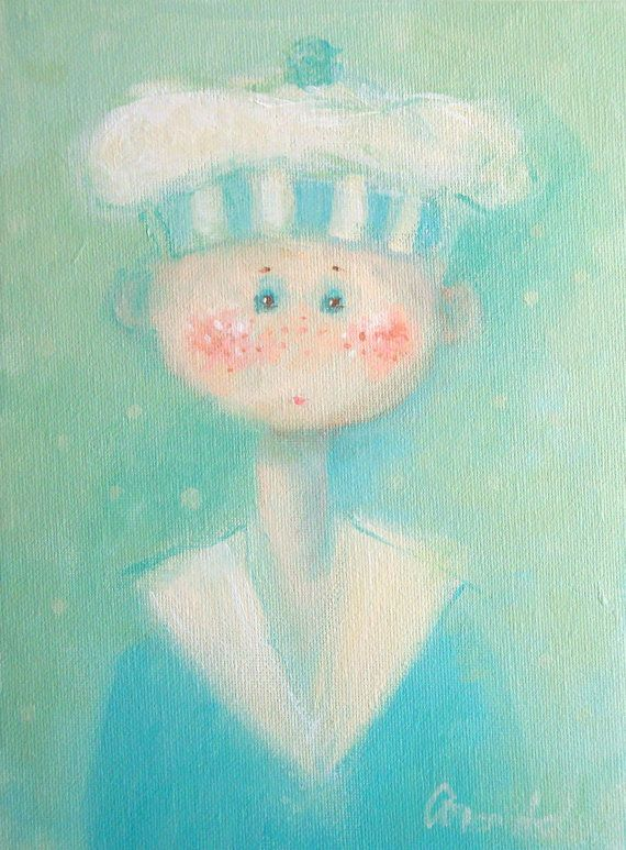 Little Boy Sailor Painting Blue Whimsical Cute New Baby Boy