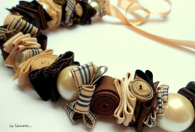 collana in perle e tessuto