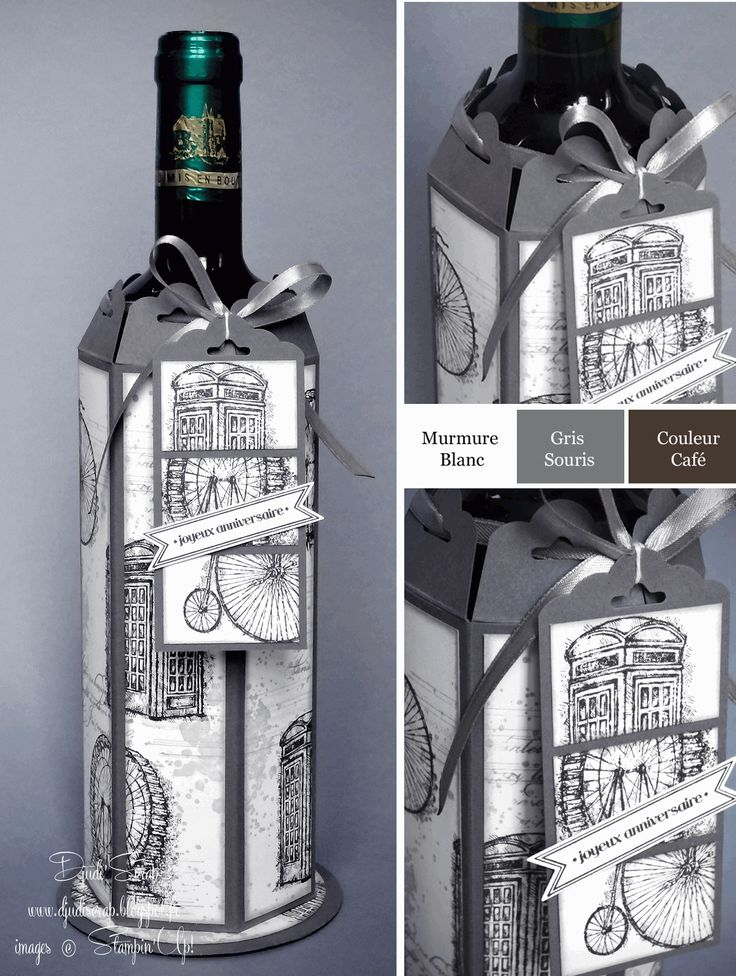 stampin 39 up d coration de bouteilles perforatrice tiquette festonn e mes cr ations djudi. Black Bedroom Furniture Sets. Home Design Ideas