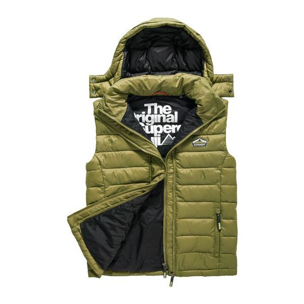 Superdry Fuji Double Zip Hooded Gilet ($90) ❤ liked on Polyvore featuring men's fashion, men's clothing, men's outerwear, men's vests, green, mens hooded vest, mens gilet, mens quilted gilet, mens quilted vest and mens vest outerwear