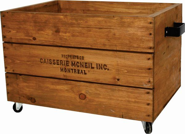 Mcneil Caisse En Bois Sur Roulettes Avec Poignees Noires Brun 3003 Reno Depot Wooden Crates On Wheels Wooden Crate Diy Storage Crate