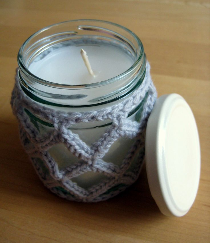 This would make a fabulous quick and simple crochet gift! Lattice Jar Candle Cover - Media - Crochet Me