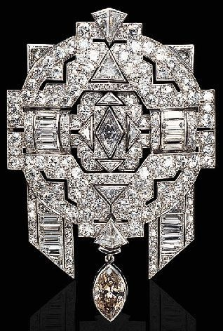 Art Deco Diamond Brooch || cool design to inspire clothing shape, possibly.