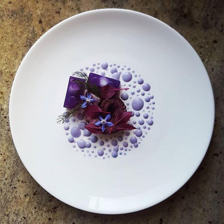 Octopus, purple cabbage jelly, amaranth, barage flower and purple cabbage mayonnaise by @lvin1stbite
