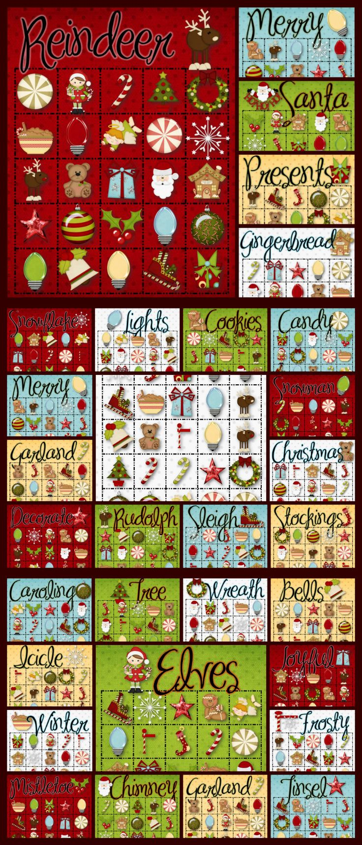30 Christmas Bingo Cards - INSTANT DOWNLOAD - Celebrate Christmas with this fun and festive Bingo game. 30 different playing cards and a calling card set. Happy Holidays!