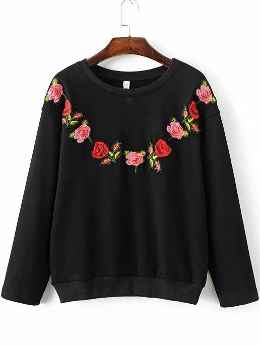 Sudadera con bordado floral - negro  -Spanish SheIn(Sheinside)