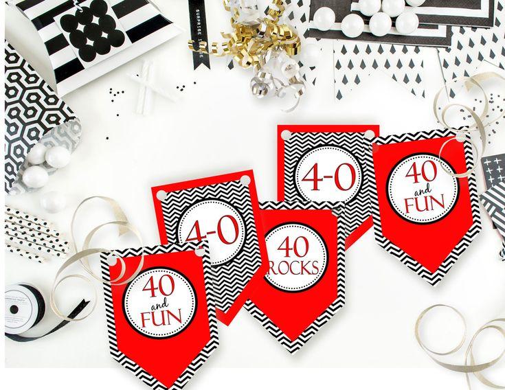 Printable 40 and Fun Birthday Banner, Printable 40 Rocks Birthday Banner, 40th Birthday Banner Instant Download by sunshinetulipdesign on Etsy