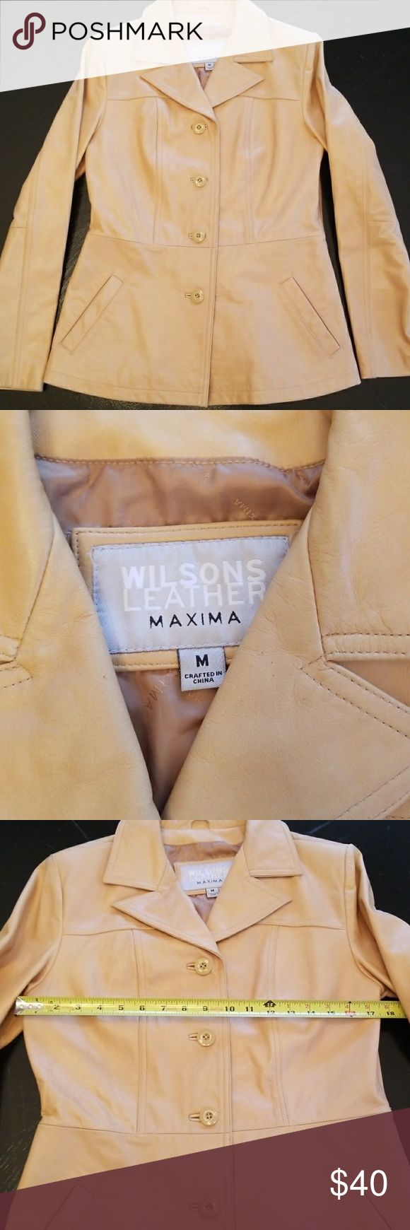 Wilsons Leather Jacket Tan Wilsons Leather Jacket Maxima Approx measurements in pics Has a few spots needs to be cleaned but in good condition Wilsons Leather Jackets & Coats