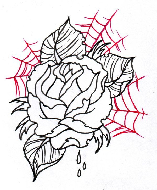 Neo Traditional Rose Outline 2 By