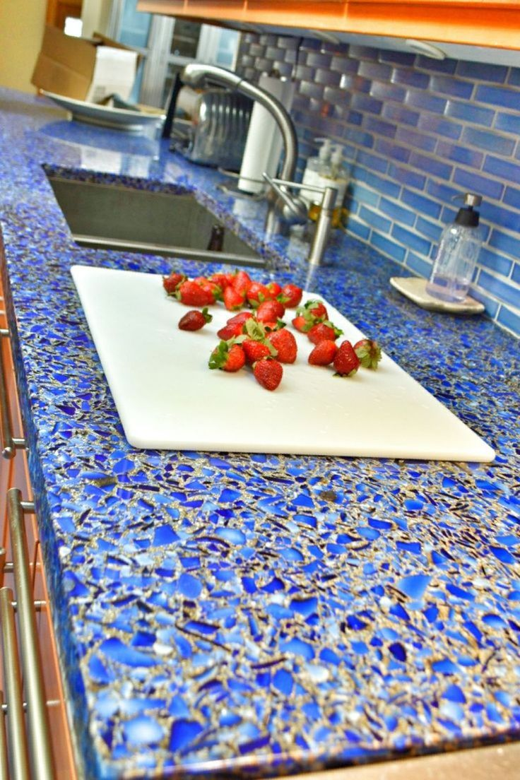 Recycled glass countertops dallas - Eco Friendly Recycled Glass Countertop Kitchen With Blue Recycled Glass
