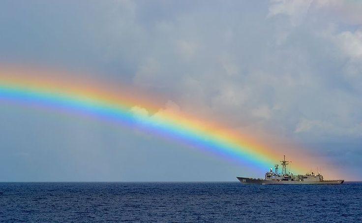 Arco Íris, Mar, Navio, Colorido