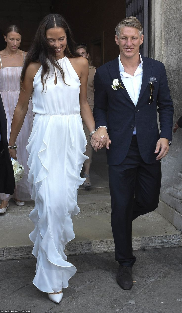 Good sports! Serbian tennis player Ana Ivanovic wowed in white as she married German footballer Bastian Schweinsteigeron Tuesday in an intimate ceremony at Venice City Hall