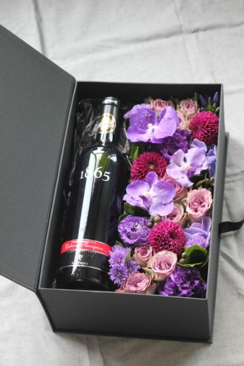 Flower box & wine gift set - great idea for something a little different for a branded corporate gift