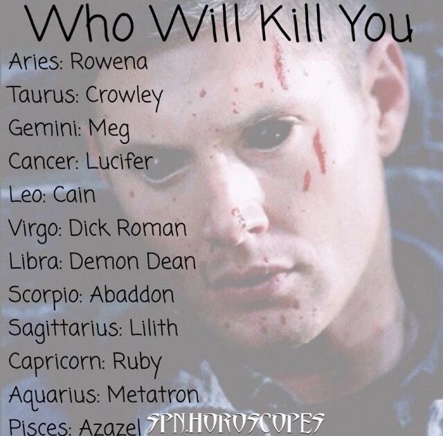 "You know it's bad when you go ""YESSS!!"" At being killed because it's by Demon Dean<< ok but I looked at another type of this but it was who would save you and I got Dean but Deanmon kills me?!?!"