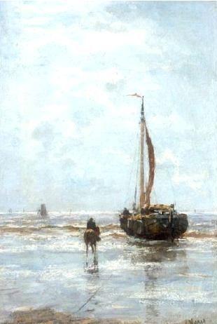 Jacobus Hendricus (Jacob) Maris (1837 - 1899). Links en rechts bomschuiten op het strand.
