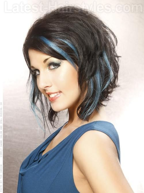 Short Dark Brown Hair with Blue Highlights