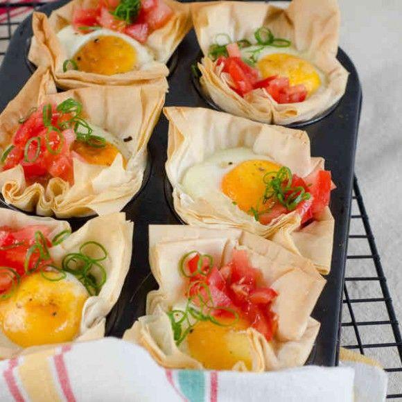 Mini Bacon and Egg Filo Tarts