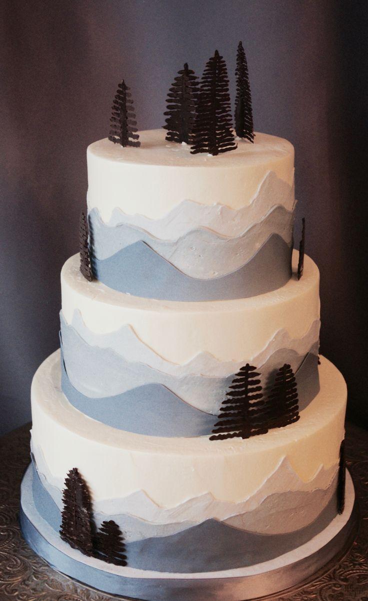 (1161) Mountain Range Wedding Cake