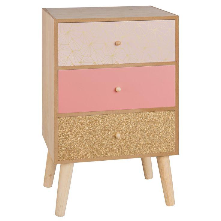 Roze en goudkleurig klein opbergmeubel met 3 lades