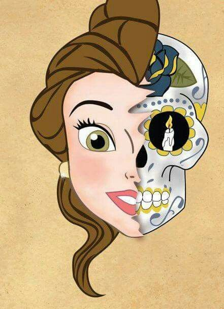 Beautiful Sugar Skulls Drawings Princess belle Sugar s...