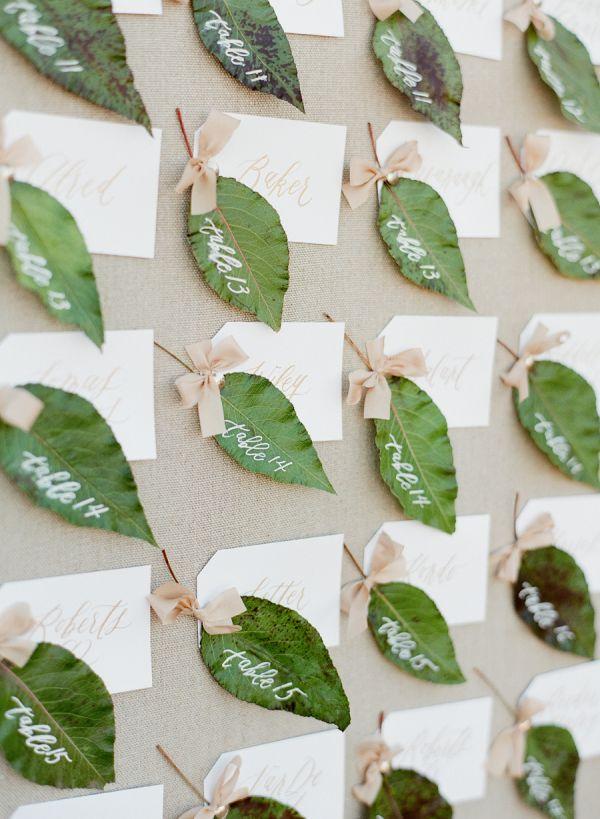 Greenery wedding escort cards: http://www.stylemepretty.com/2016/12/08/pantone-2017-color-of-the-year-greenery-wedding/ Photography: Jose Villa - http://josevilla.com/