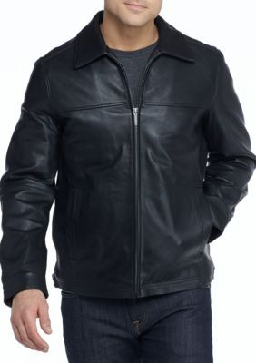 Nautica Men's Leather Bomber Jacket -  - No Size
