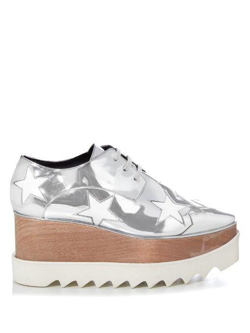 Stella McCartney Elyse metallic lace-up platform shoes