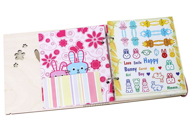 Personalized Bunny girl wooden cover sketchbook A5 by ZabavaBox