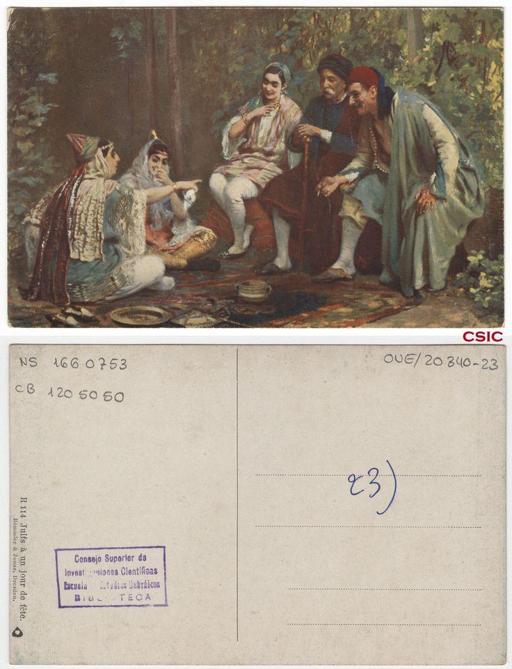 Juifs á un jour de fête. Editor: Dresden : Römmler & Jonas. Fecha: ca.1903.Serie/Tit. relacionados: Vistas de Palestina.  http://bvirtual.bibliotecas.csic.es/csic:csicalephbib001660753