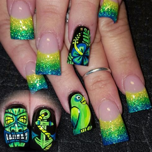 Neon Island by Oli123 from Nail Art Gallery