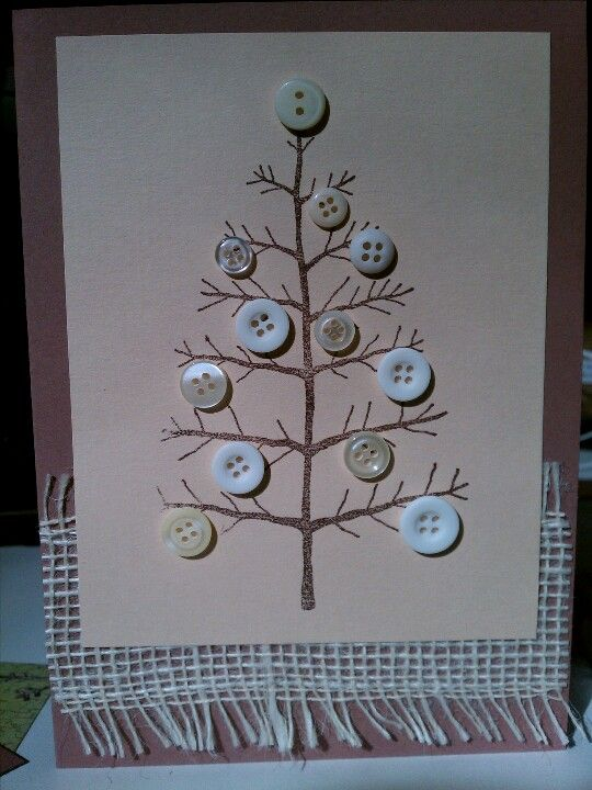 Cute Natural Christmas Card...with burlap & prim button tree.