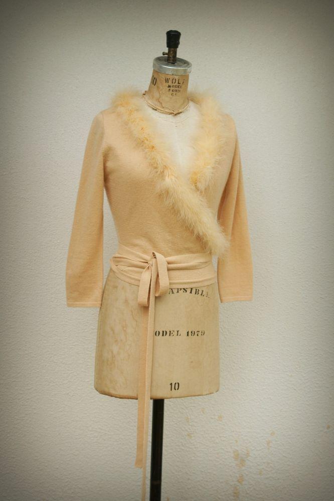 Betsey Johnson Wrap Boa Sweater Wool Cashmere Blend Size Medium Junior #BetseyJohnson #WrapSwing #designer #fashion #hipster #trend #style #boa #vintage