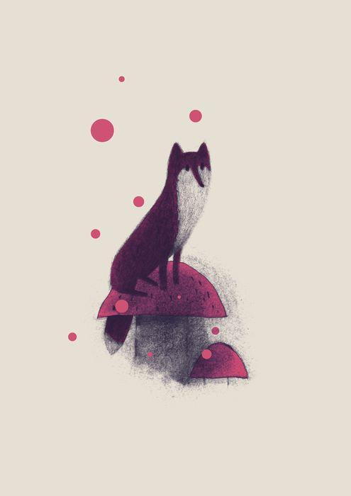 Little fox and mushrooms art print by linette no on artsider com