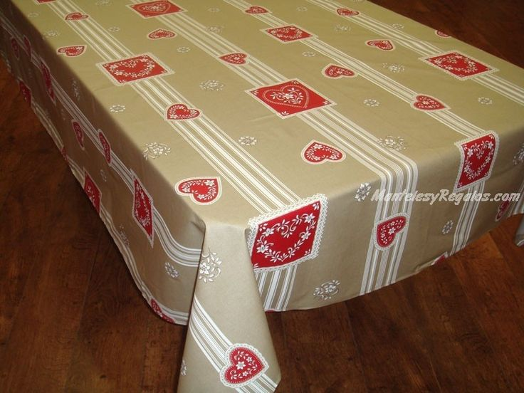 Mantel de Algodón Plastificado - Modelo CHATEL MONTAGNE - Beige/Rojo http://www.mantelesyregalos.com/30-manteles-plastificados