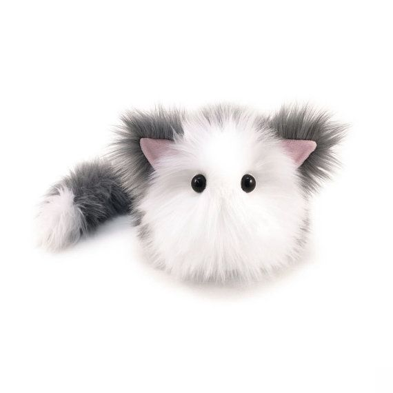 Stuffed Cat Stuffed Animal Cute Plush Toy Cat Kawaii Plushie Buddy the Gray and White Cuddly Snuggly Faux Fur Kitty Cat Large 6x10 Inches