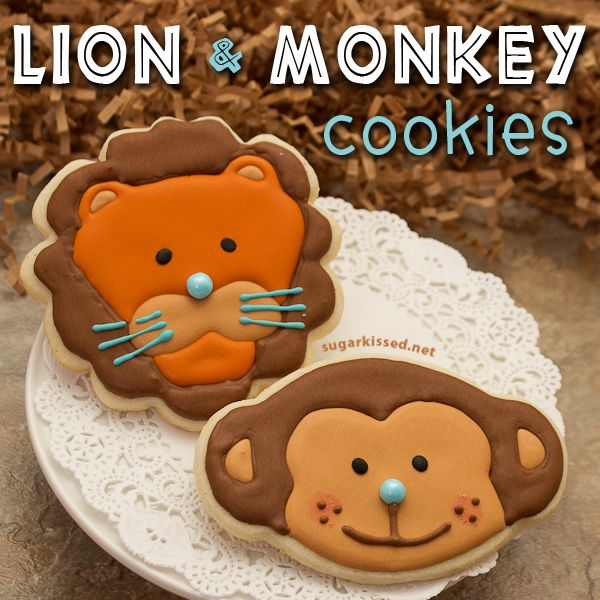 Perfect for any jungle party! And with the matching onesie cookies these are some of the cutest baby shower treats I've seen! Lion and Monkey Cookies by @Janine (sugarkissed.net)