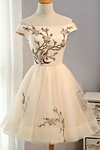 Cap Sleeves Homecoming Dress,Embroidery Homecoming Dresses,Tulle Homecoming Dres... 17
