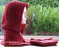 Easy Rounded Scoodie - free crochet hooded scarf pattern by Zoe Deterding.