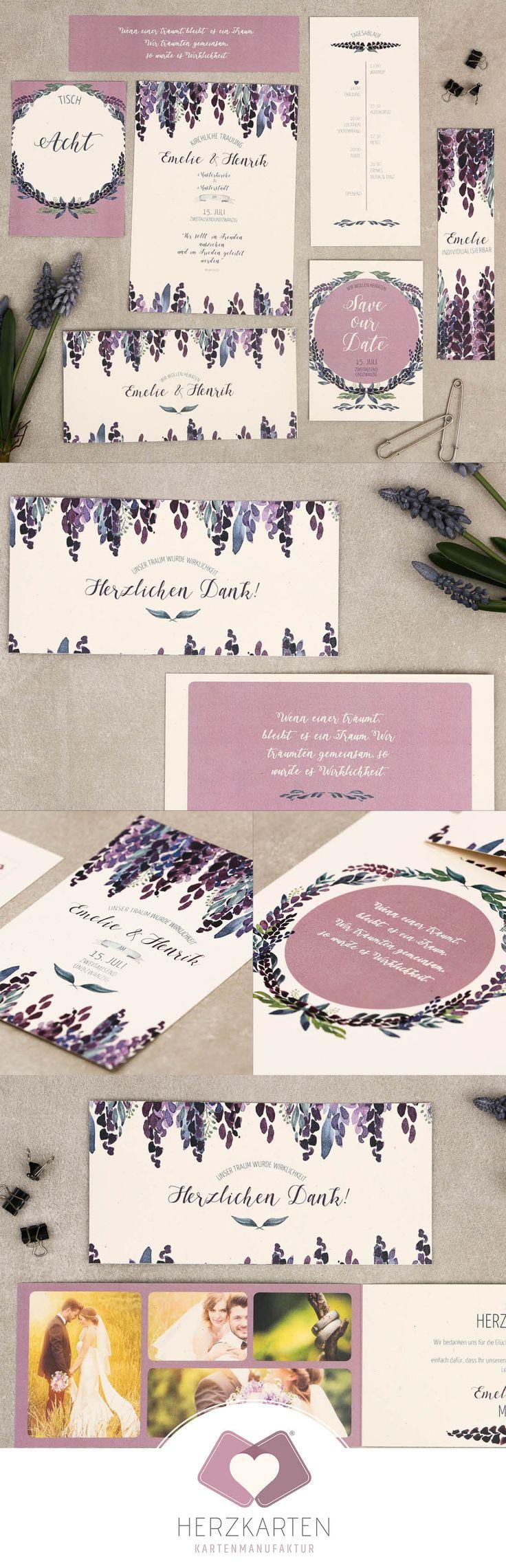 Das handgemalte Aquarell-Design mit der Danksagung besteht aus wunderschönen Lavendel-Elementen und findet auf Naturpapier seinen perfekten Platz. #purple #watercolor #papeterie #herzkarten #hochzeit #handgemalt #hochzeitskarte #lavendel #lila #vintage #kraftpapier #naturpapier