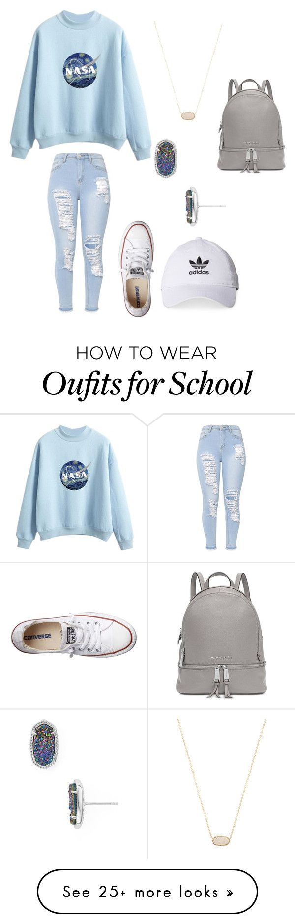 """Back to school winter"" by mckinleyelwick on Polyvore featuring Converse, adidas, Kendra Scott and Michael Kors"