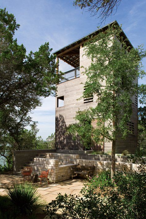 There are a few small limestone cabins from the 1930's located along Lake Travis, the longest of the Highland Lakes that terrace the hill country west of Austin, and they are used primarily in the summer. One such cabin sits on a slope rising from...