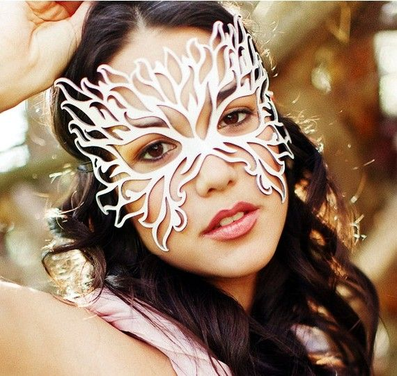 Filigree Flame leather mask in white by TomBanwell on Etsy, $39.00