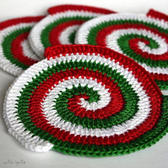 Crochet pattern. Spiral Crochet Coasters. 3 colors. by yolkaigolka